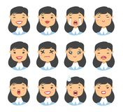 Set of asian emoji character. Cartoon style emotion icons. Isolated girl avatars with different facial expressions. Flat illustrat Royalty Free Stock Photos