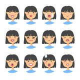 Set of asian emoji character. Cartoon style emotion icons. Isolated girl avatars with different facial expressions. Flat illustrat Stock Photo