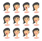 Set of asian emoji character. Cartoon style emotion icons. Isolated girl avatars with different facial expressions. Flat illustrat Stock Images