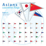 Set of Asian flags, vector illustration. Stock Photo