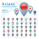 Set of Asian flags, vector illustration. Stock Image