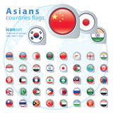 Set of Asian flags, vector illustration. Royalty Free Stock Photos
