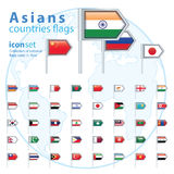Set of Asian flags, vector illustration Royalty Free Stock Photo