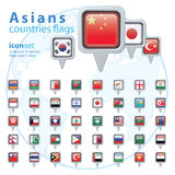 Set of Asian flags, vector illustration Stock Image