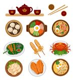 Set of asian food. Chinese and Korean cuisine. royalty free illustration