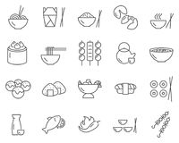 Set of asian food line vector icons. stock illustration