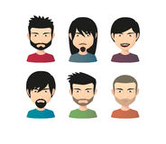 Set of asian male avatars with various hair styles Royalty Free Stock Photo