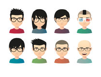 Set of asian male avatars with various hair styles wearing glass Stock Image