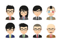 Set of asian male avatars with various hair styles wearing glass Royalty Free Stock Photography