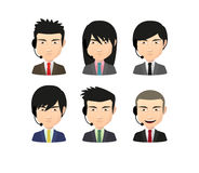 Set of asian male avatars with various hair styles wearing heads Royalty Free Stock Photo