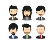 Set of asian male avatars with various hair styles wearing suit Royalty Free Stock Image