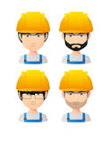 Set of asian male avatars wearing working helmets Stock Photo