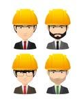 Set of asian male avatars wearing working helmets Stock Photo