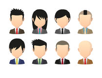 Set of asian male faceless avatars with various hair styles wear Stock Photos
