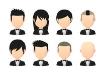 Set of asian male faceless avatars with various hair styles wear Royalty Free Stock Image