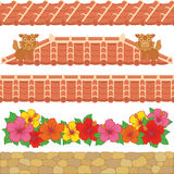 Asian red tiles. Set of Asian red tiles Royalty Free Stock Photo