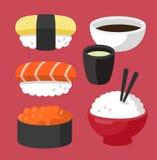 Set of asian sushi food stock illustration
