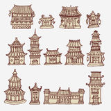 Set of Asian temples and manor houses. Vector set of hand drawn asian temples and manor houses Stock Photos
