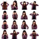 Set Of Asian Young Adult Emotional Faces Stock Photography