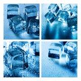 Set asortowani tła z kostką lodu Zdjęcie Royalty Free