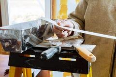 Set asortowani tynk kielni narzędzia i szpachelka budowa młotek narzędzia okno Obraz Royalty Free