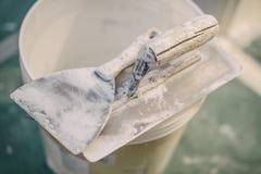 Set asortowani tynk kielni narzędzia i szpachelka Zdjęcie Royalty Free