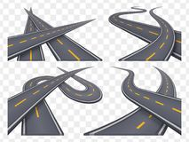 Set of 9 asphalt road concepts in perspective. Highway icons Royalty Free Stock Photo