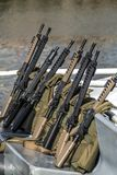 Set assault rifles. A set of automatic military rifles for selection for shooters on a commercial shooting range Royalty Free Stock Photos