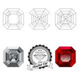 Set of asscher cut jewel views Royalty Free Stock Image