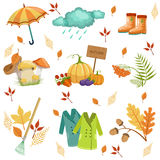 Set Of Associated With Autumn Objects Royalty Free Stock Images