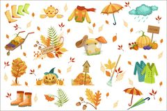 Set Of Associated With Autumn Objects. Seasonal Symbols In Cute Detailed Cartoon Style royalty free illustration