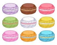 Set of assorted hand drawn macarons. Stock Photos