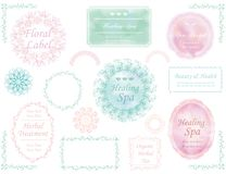 Set of assorted labels in pastel colors, vector illustrations. Set of assorted labels in pastel colors on a white background, vector illustrations Stock Image
