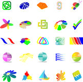 Set of assorted logo examples. Set of 25 examples of logo or logo components Stock Photography