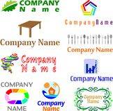 Set of assorted logo examples. Set of 9 examples of logo or logo components Stock Photography