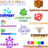 Set of assorted logo examples. Set of 11 examples of logo or logo components Stock Photo