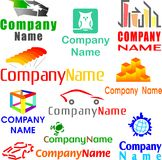 Set of assorted logo examples. Set of 10 examples of logo or logo components Stock Images