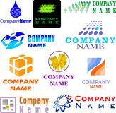 Set of assorted logo examples. Set of 10 examples of logo or logo components Royalty Free Stock Photo