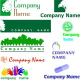 Set of assorted logo examples. Set of 9 examples of logo or logo components Royalty Free Stock Photography