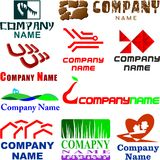 Set of assorted logo examples. Set of 10 examples of logo or logo components Stock Photography