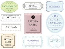 Set of assorted pastel color labels on a white background, vector illustration. Set of assorted labels in pastel colors on a white background, vector Stock Images