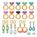 Set of assorted rings and earrings. Stock Image