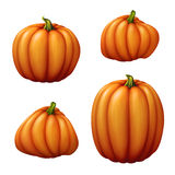 Set of assorted shapes pumpkins clip art illustration, vegetables isolated on white background Stock Images