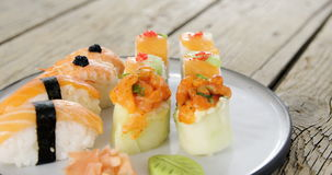Set of assorted sushi served on plate stock video footage