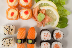 Set of assorted sushi served in a white plate Stock Image