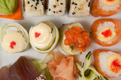 Set of assorted sushi served in a white plate Stock Photo