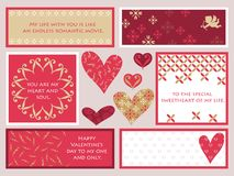 A set of assorted Valentine's Day frames/cards,  illustration. A set of assorted Valentine's Day frames/cards with sample text,  illustration Royalty Free Stock Photography