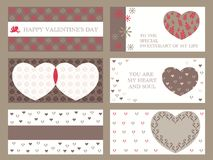 A set of assorted Valentine's Day frames/cards,  illustration. A set of assorted Valentine's Day frames/cards with sample text,  illustration Stock Images