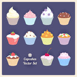 Set of assorted vector cupcakes. Stock Photos
