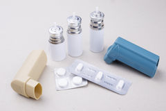 Set of asthma inhalers. On a gray background Royalty Free Stock Image